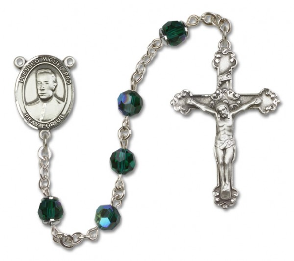 Blessed Miguel Pro Sterling Silver Heirloom Rosary Fancy Crucifix - Emerald Green