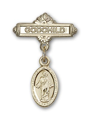Baby Badge with Scapular Charm and Godchild Badge Pin - Gold Tone