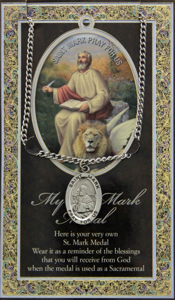 St. Mark Medal in Pewter with Bi-Fold Prayer Card - Silver tone