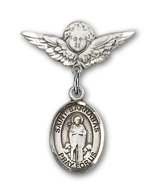Pin Badge with St. Barnabas Charm and Angel with Smaller Wings Badge Pin - Silver tone