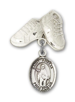 Pin Badge with St. Amelia Charm and Baby Boots Pin - Silver tone