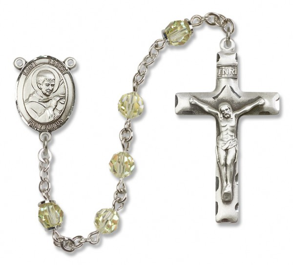St. Robert Bellarmine Sterling Silver Heirloom Rosary Squared Crucifix - Jonquil