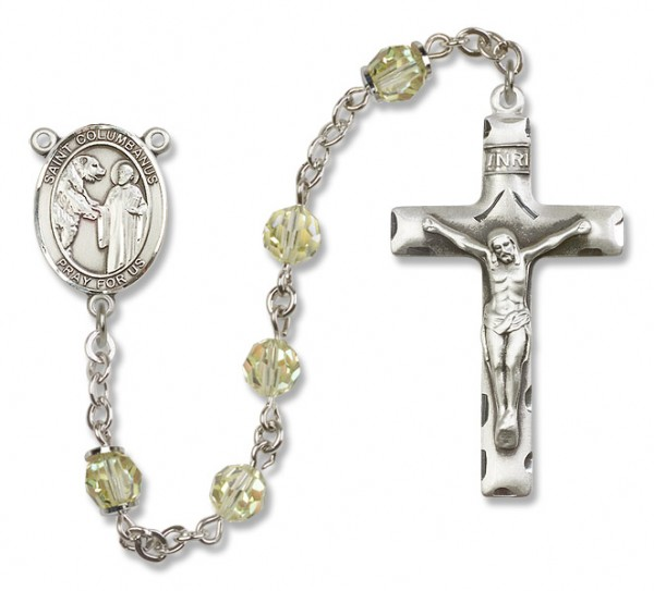 St. Columbanus Sterling Silver Heirloom Rosary Squared Crucifix - Jonquil