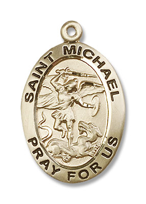 Men's Double Sided Oval St. Michael and Guardian Angel Medal - 14K Yellow Gold
