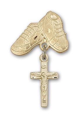 Baby Badge with Crucifix Charm and Baby Boots Pin - Gold Tone