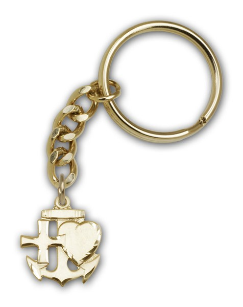 Faith, Hope & Charity Keychain - Antique Gold