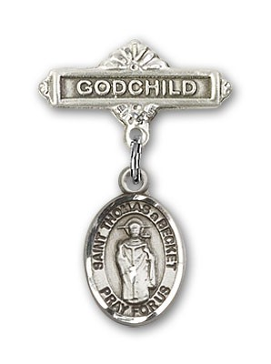 Pin Badge with St. Thomas A Becket Charm and Godchild Badge Pin - Silver tone