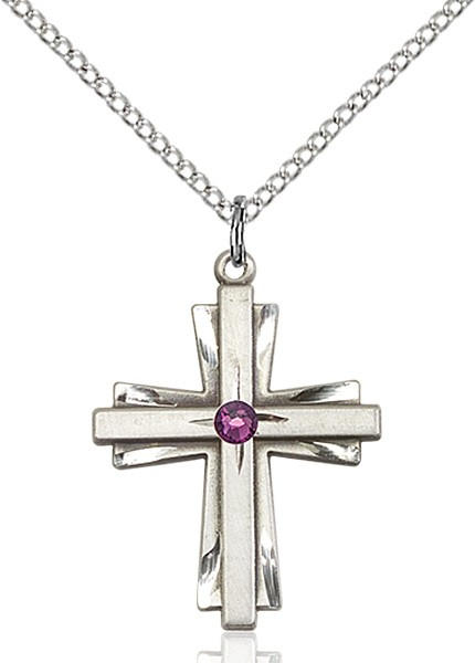 Women's Cross on Cross Pendant with Birthstone Options - Amethyst