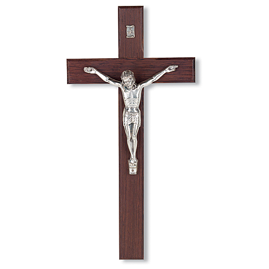 Italian Walnut Wall Crucifix - 8 or 12 inch - Brown