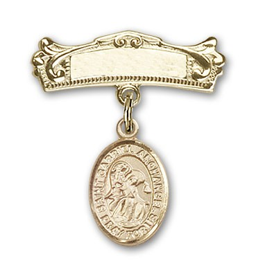 Pin Badge with St. Gabriel the Archangel Charm and Arched Polished Engravable Badge Pin - Gold Tone
