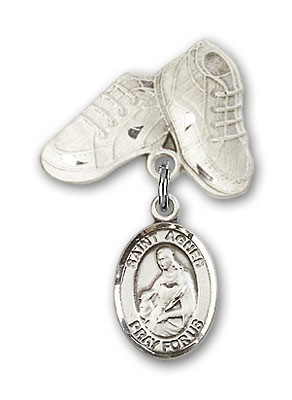 Pin Badge with St. Agnes of Rome Charm and Baby Boots Pin - Silver tone