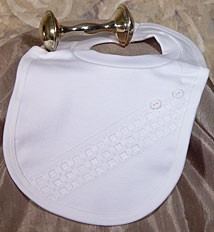Boys Cotton Interlock Baptism Bib with Buttons - White