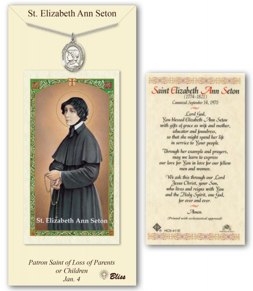 St. Elizabeth Ann Seton Medal in Pewter with Prayer Card - Silver tone