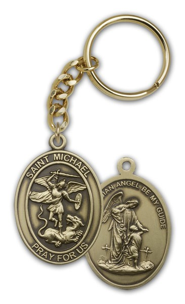 St. Michael Guardian Angel Keychain - Antique Gold