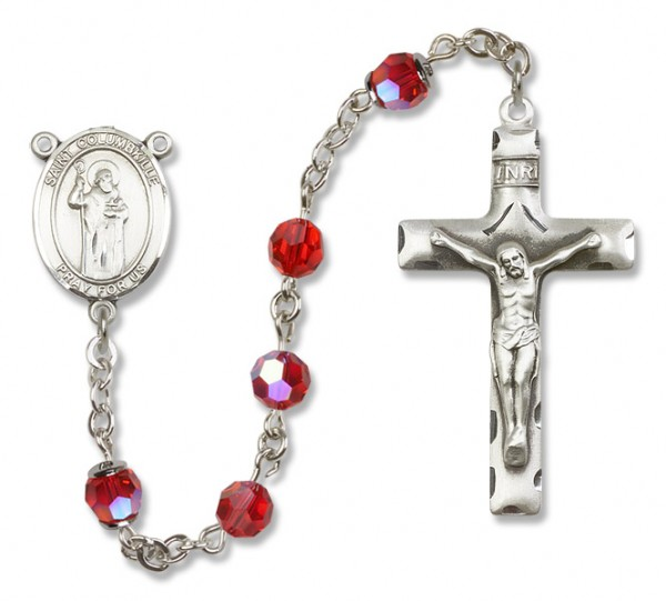 St. Columbkille Sterling Silver Heirloom Rosary Squared Crucifix - Ruby Red