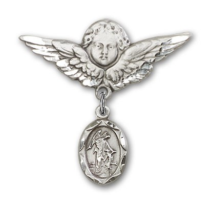 Baby Pin with Guardian Angel Charm and Angel with Larger Wings Badge Pin - Silver tone