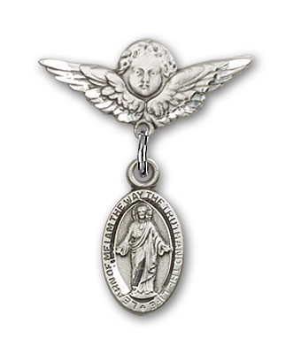 Pin Badge with Scapular Charm and Angel with Smaller Wings Badge Pin - Silver tone