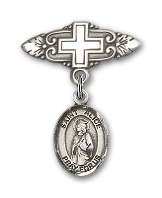 Pin Badge with St. Alice Charm and Badge Pin with Cross - Silver tone