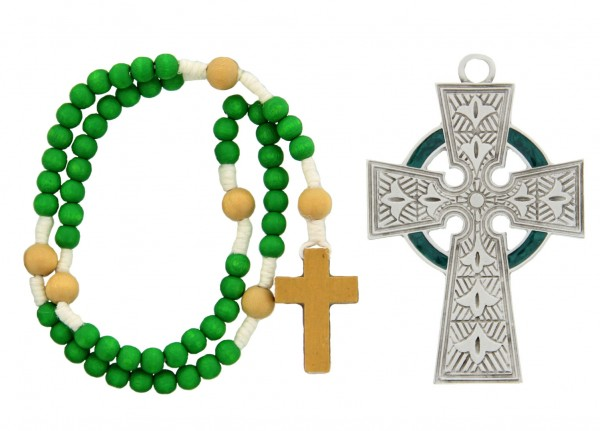 Irish Celtic Baby Cross and Rosary Set - Silver