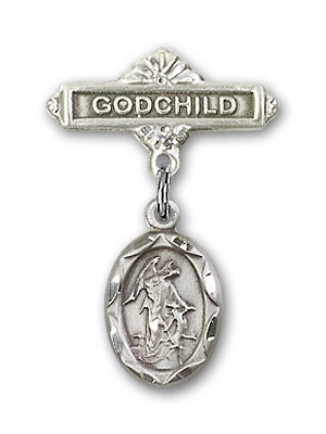 Baby Pin with Guardian Angel Charm and Godchild Badge Pin - Silver tone