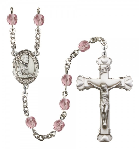 Women's St. Pio of Pietrelcina Birthstone Rosary - Light Amethyst