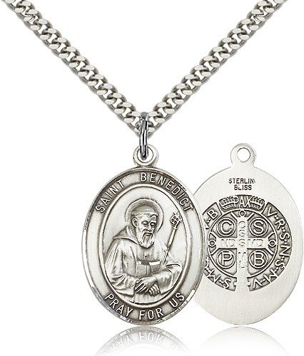 Double Sided Oval St. Benedict Medal - Sterling Silver