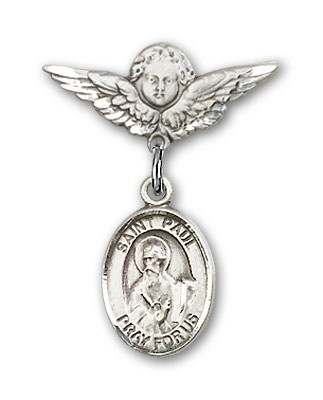 Pin Badge with St. Paul the Apostle Charm and Angel with Smaller Wings Badge Pin - Silver tone