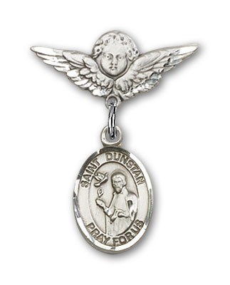Pin Badge with St. Dunstan Charm and Angel with Smaller Wings Badge Pin - Silver tone