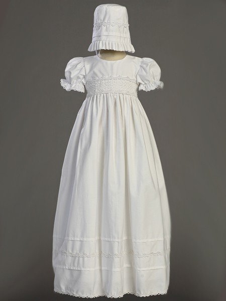 Marie Smock Cotton Long Length Baptism Gown  - White