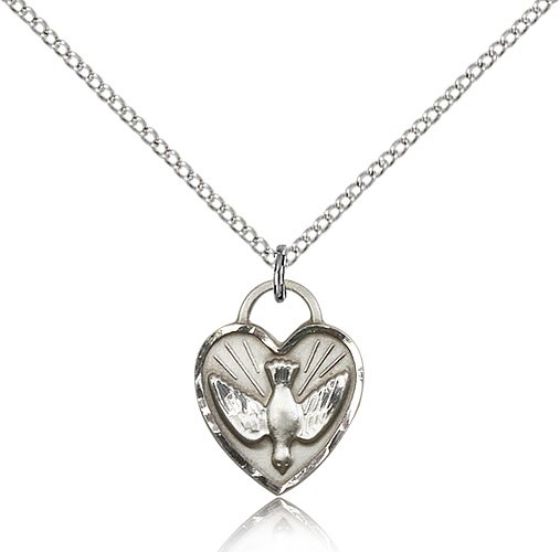 Girl's Heart Shaped Confirmation Pendant - Sterling Silver