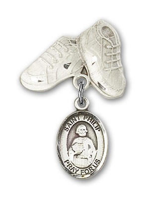 Pin Badge with St. Philip the Apostle Charm and Baby Boots Pin - Silver tone