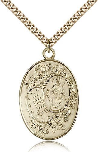 Large Miraculous Medal Necklace - 14KT Gold Filled