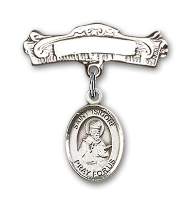 Pin Badge with St. Isidore of Seville Charm and Arched Polished Engravable Badge Pin - Silver tone
