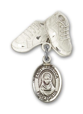 Pin Badge with St. Rebecca Charm and Baby Boots Pin - Silver tone
