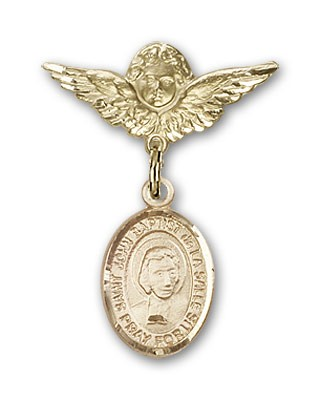 Pin Badge with St. John Baptist de la Salle Charm and Angel with Smaller Wings Badge Pin - Gold Tone