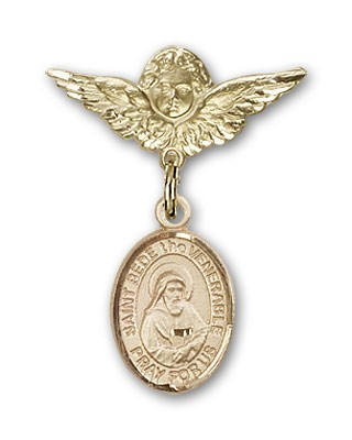 Pin Badge with St. Bede the Venerable Charm and Angel with Smaller Wings Badge Pin - 14K Yellow Gold