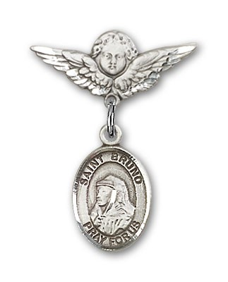 Pin Badge with St. Bruno Charm and Angel with Smaller Wings Badge Pin - Silver tone