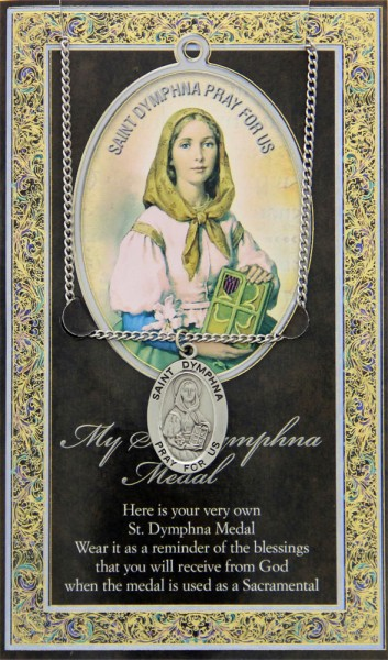 St. Dymphna Medal in Pewter with Bi-Fold Prayer Card - Silver tone