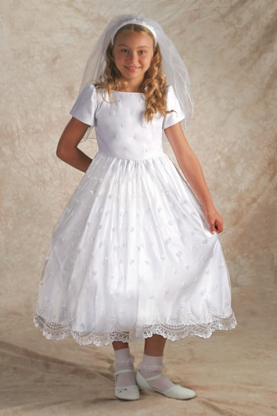 First Communion Dress Irish - Bridal Satin - White