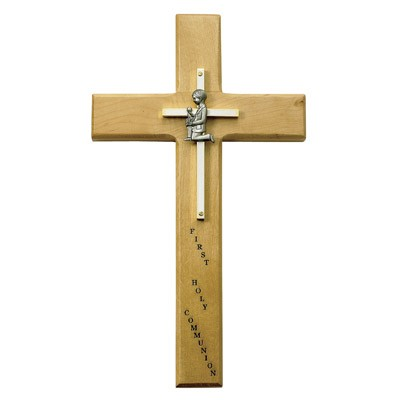 First Communion Boy's Maple Wood Cross - 10 inch - Brown