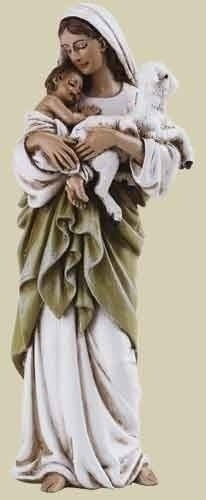 "Madonna Holding Infant Child and Lamb Statue 4"" - Green"