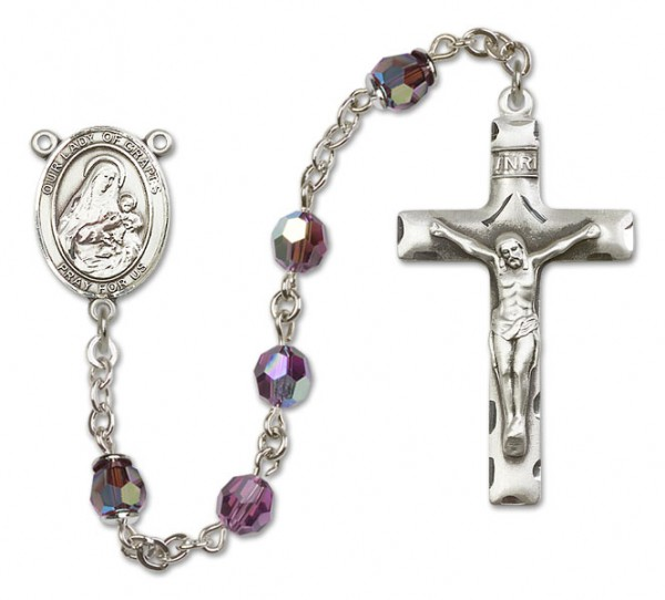 Our Lady of Grapes Rosary Heirloom Squared Crucifix - Amethyst