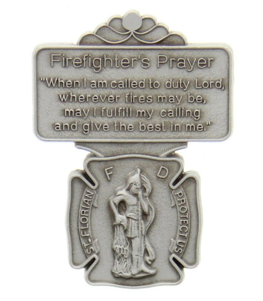 "St. Florian Firefighter Prayer Visor Clip, Pewter - 2 1/8""H - Silver"