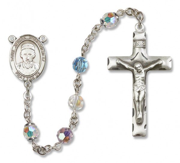 St. Joseph Freinademetz Sterling Silver Heirloom Rosary Squared Crucifix - Multi-Color