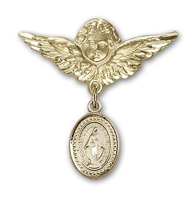 Baby Pin with Miraculous Charm and Angel with Larger Wings Badge Pin - 14K Yellow Gold