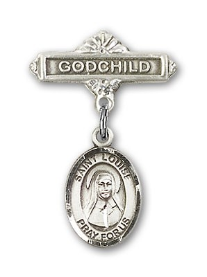 Pin Badge with St. Louise de Marillac Charm and Godchild Badge Pin - Silver tone