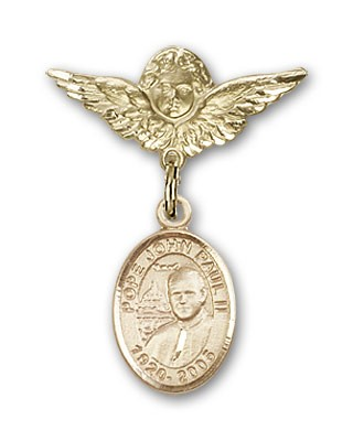 Pin Badge with Pope John Paul II Charm and Angel with Smaller Wings Badge Pin - 14K Yellow Gold