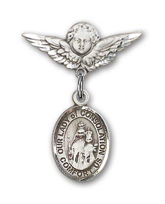 Pin Badge with Our Lady of Consolation Charm and Angel with Smaller Wings Badge Pin - Silver tone