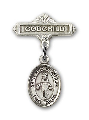 Pin Badge with St. Nino de Atocha Charm and Godchild Badge Pin - Silver tone