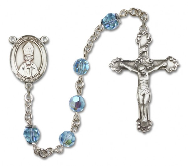 St. Anselm of Canterbury Sterling Silver Heirloom Rosary Fancy Crucifix - Aqua